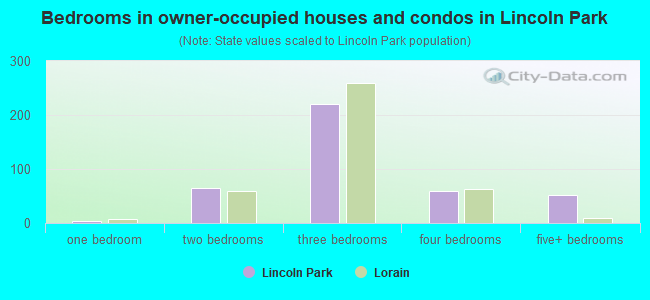 Bedrooms in owner-occupied houses and condos in Lincoln Park