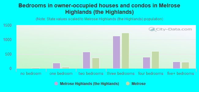 Bedrooms in owner-occupied houses and condos in Melrose Highlands (the Highlands)