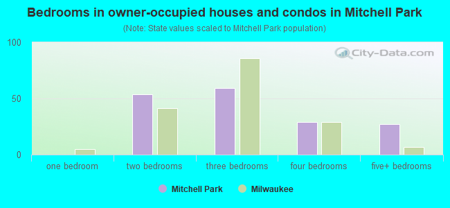 Bedrooms in owner-occupied houses and condos in Mitchell Park