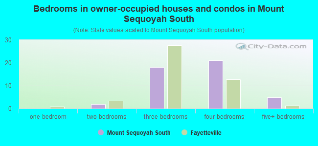 Bedrooms in owner-occupied houses and condos in Mount Sequoyah South