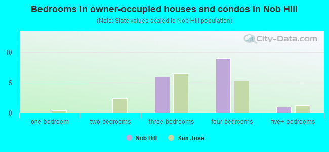Bedrooms in owner-occupied houses and condos in Nob Hill