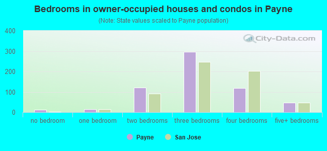 Bedrooms in owner-occupied houses and condos in Payne
