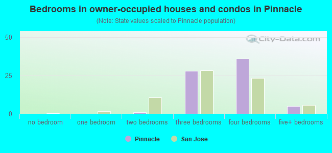 Bedrooms in owner-occupied houses and condos in Pinnacle