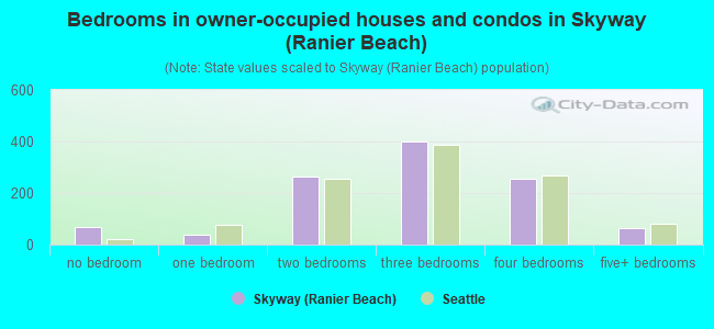 Bedrooms in owner-occupied houses and condos in Skyway (Ranier Beach)