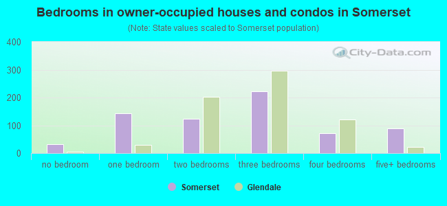 Bedrooms in owner-occupied houses and condos in Somerset