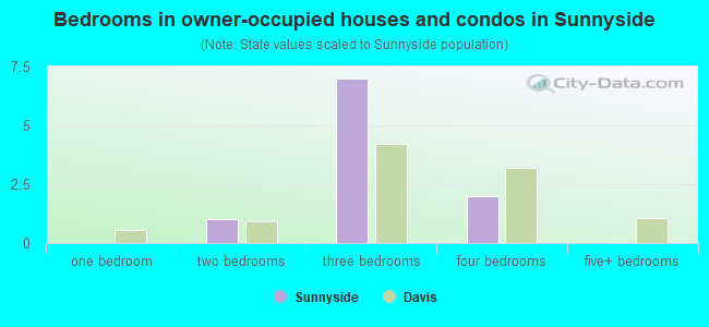 Bedrooms in owner-occupied houses and condos in Sunnyside