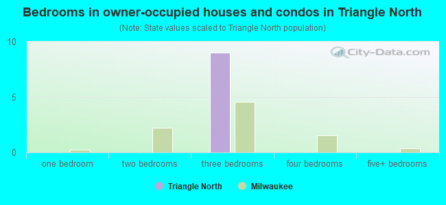 Bedrooms in owner-occupied houses and condos in Triangle North
