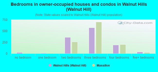 Bedrooms in owner-occupied houses and condos in Walnut Hills (Walnut Hill)