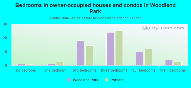 Bedrooms in owner-occupied houses and condos in Woodland Park
