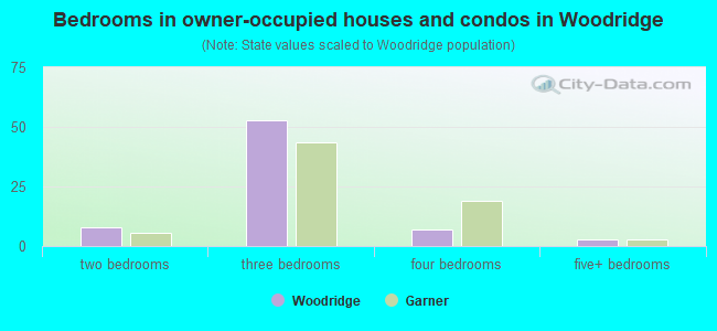 Bedrooms in owner-occupied houses and condos in Woodridge