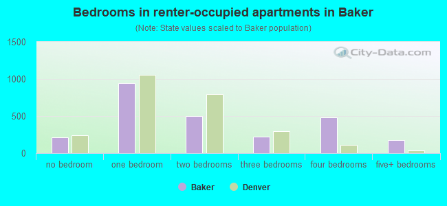 Bedrooms in renter-occupied apartments in Baker