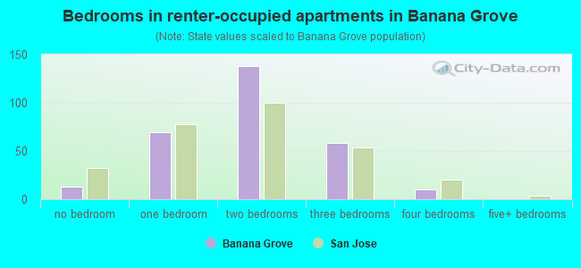 Bedrooms in renter-occupied apartments in Banana Grove