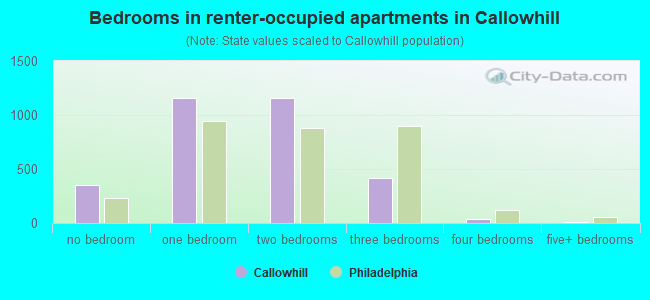 Bedrooms in renter-occupied apartments in Callowhill