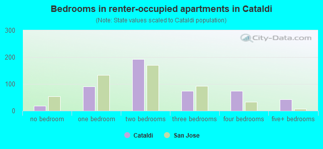 Bedrooms in renter-occupied apartments in Cataldi