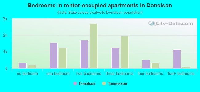 Bedrooms in renter-occupied apartments in Donelson