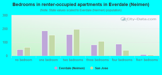 Bedrooms in renter-occupied apartments in Everdale (Neimen)