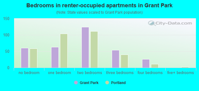 Bedrooms in renter-occupied apartments in Grant Park