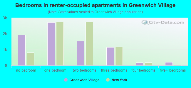 Bedrooms in renter-occupied apartments in Greenwich Village