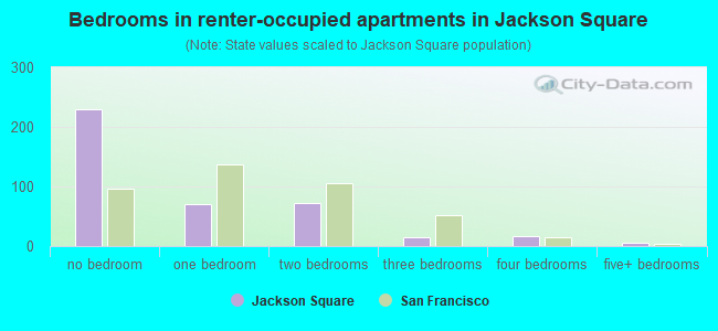 Bedrooms in renter-occupied apartments in Jackson Square