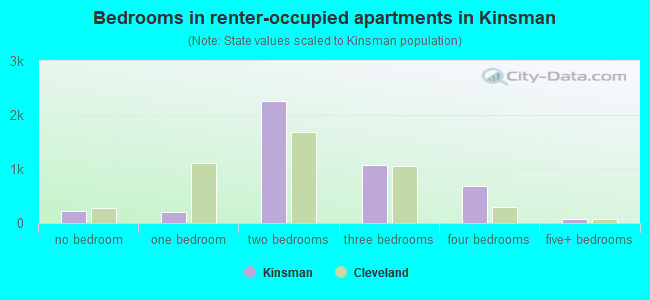 Bedrooms in renter-occupied apartments in Kinsman