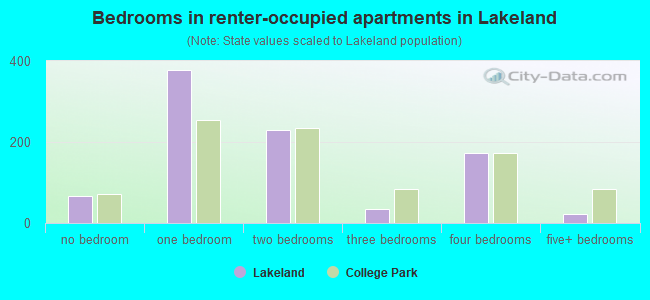 Bedrooms in renter-occupied apartments in Lakeland