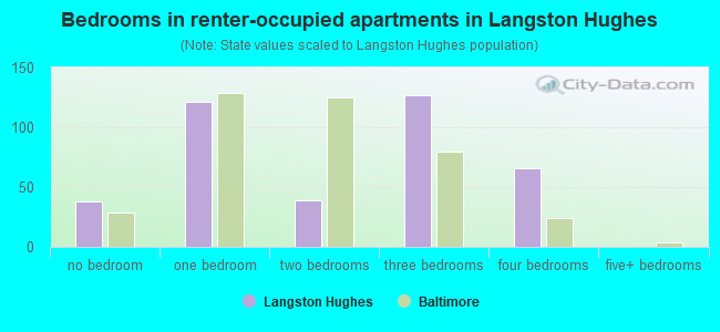 Bedrooms in renter-occupied apartments in Langston Hughes