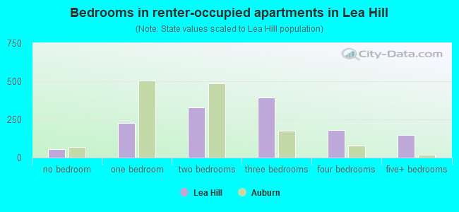 Bedrooms in renter-occupied apartments in Lea Hill