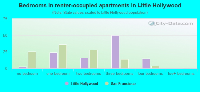 Bedrooms in renter-occupied apartments in Little Hollywood