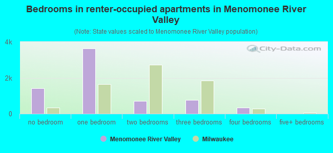 Bedrooms in renter-occupied apartments in Menomonee River Valley