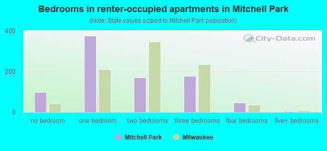 Bedrooms in renter-occupied apartments in Mitchell Park