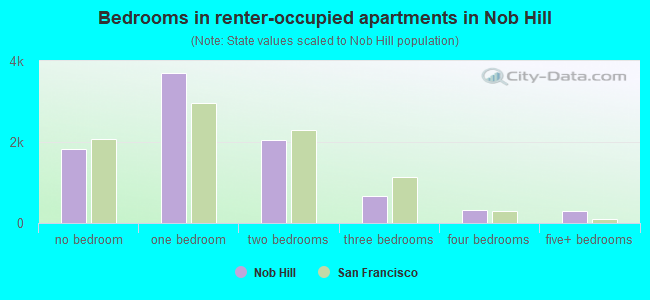 Bedrooms in renter-occupied apartments in Nob Hill