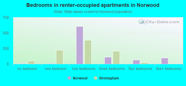 Bedrooms in renter-occupied apartments in Norwood