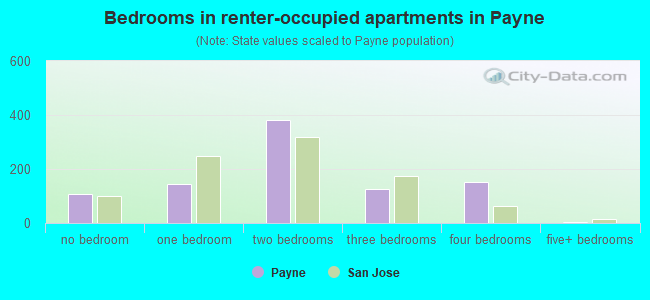 Bedrooms in renter-occupied apartments in Payne