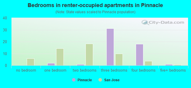 Bedrooms in renter-occupied apartments in Pinnacle