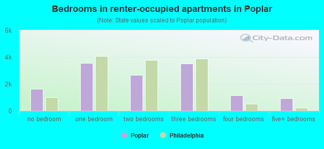 Bedrooms in renter-occupied apartments in Poplar