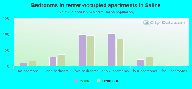 Bedrooms in renter-occupied apartments in Salina