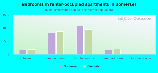 Bedrooms in renter-occupied apartments in Somerset