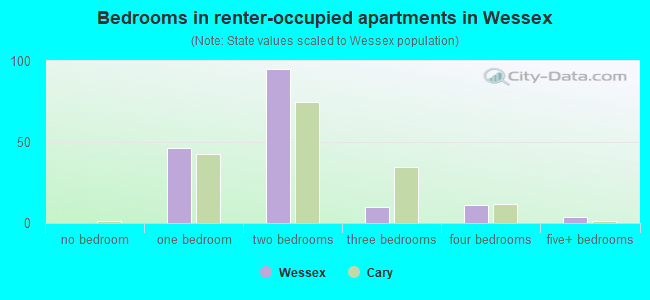 Bedrooms in renter-occupied apartments in Wessex