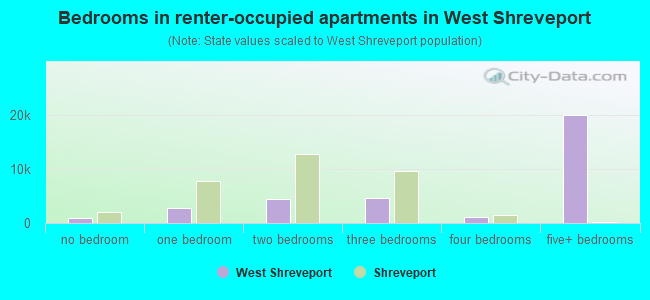 Bedrooms in renter-occupied apartments in West Shreveport
