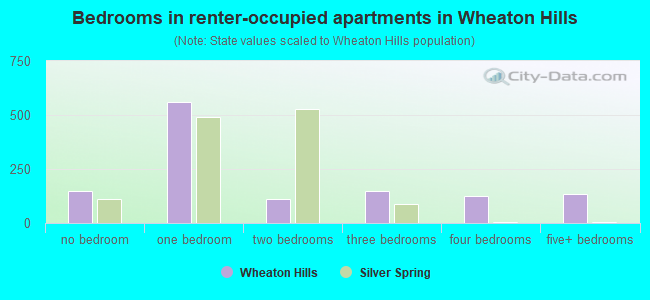 Bedrooms in renter-occupied apartments in Wheaton Hills
