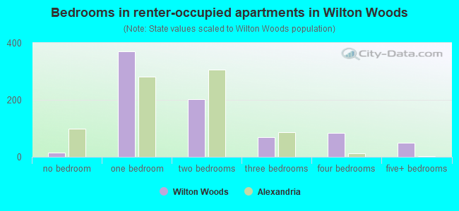 Bedrooms in renter-occupied apartments in Wilton Woods