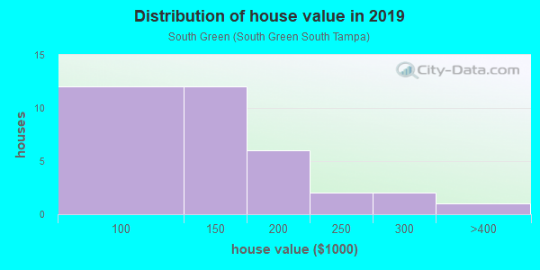 House/condo value distribution in South Green in Tampa, FL neighborhood, block, subdivision, or community