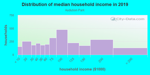 Household income distribution in 2013 in Audubon Park in Minneapolis neighborhood in MN