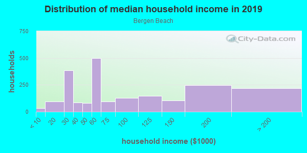 Household income distribution in 2013 in Bergen Beach in Brooklyn neighborhood in NY