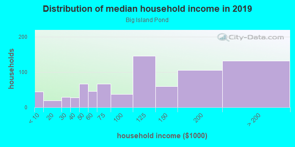 Household income distribution in 2013 in Big Island Pond in Derry neighborhood in NH