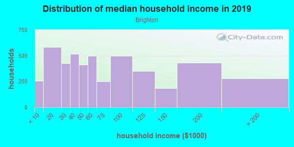 Household income distribution in 2013 in Brighton in Seattle neighborhood in WA
