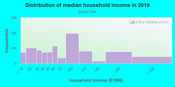 Household income distribution in 2013 in Brush Park in Detroit neighborhood in MI