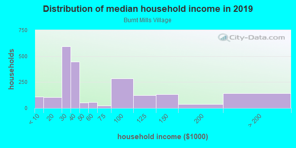 Household income distribution in 2013 in Burnt Mills Village in Silver Spring neighborhood in MD
