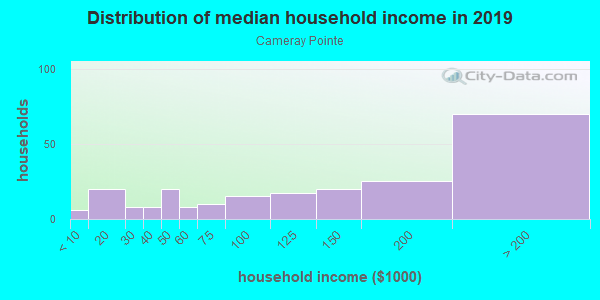 Household income distribution in 2013 in Cameray Pointe in Laguna Niguel neighborhood in CA
