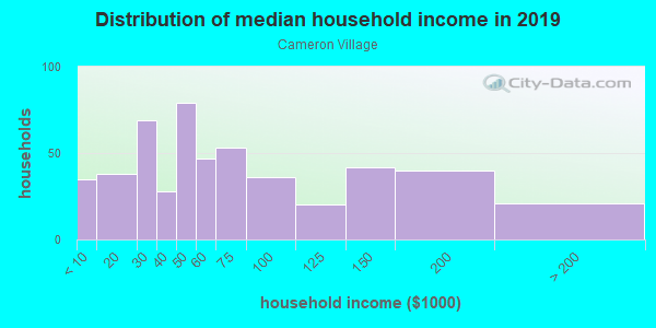 Household income distribution in 2013 in Cameron Village in Baltimore neighborhood in MD